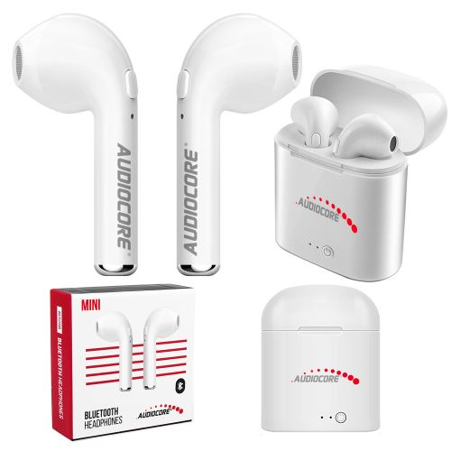 Moderné Bezdrôtové dvojitá slúchadlá do uší bluetooth + Audiocore AC515 mini biela TWS 5.0 stanice