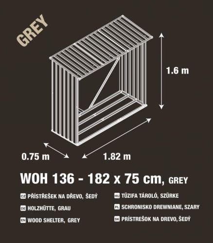 Přístřešek na dřevo  G21 WOH 136 - 182 x 75 cm, šedý