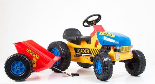Šliapací traktor G21 Classic s vlečkou žluto/modrý