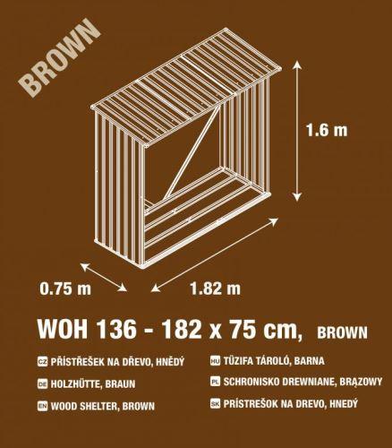G21 Přístřešek na dřevo WOH 136 - 182 x 75 cm, hnědý