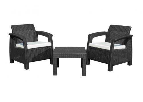 Záhradný nábytok G21 MOANA RELAX imitace ratanu, černý (2+1)