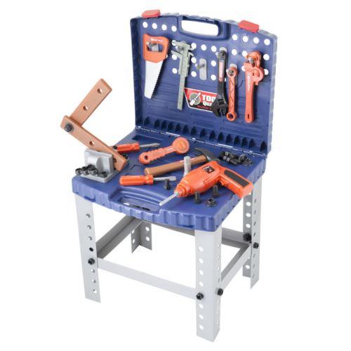 Detské náradie G21 kufrík a pracovný stôl 690400 modrý