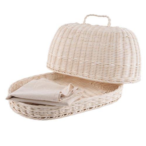 Chlebník rattan ovál + utierka