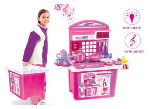 Detská kuchynka G21 s príslušenstvom v kufri ružová