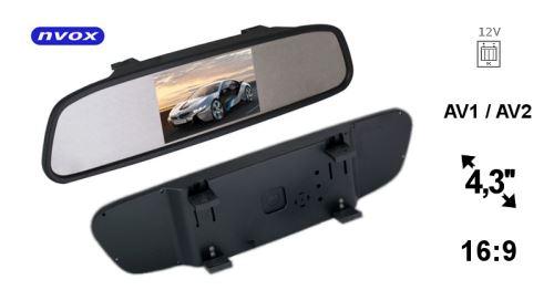 4,3 palcový LCD spätný LCD monitor do auta v 12v spätnom zrkadle