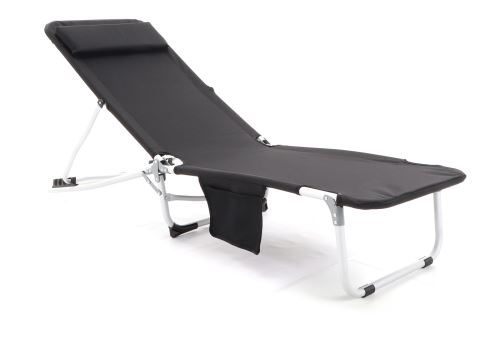 Čierne relaxačné polohovateľné ležadlo VeGA Beach