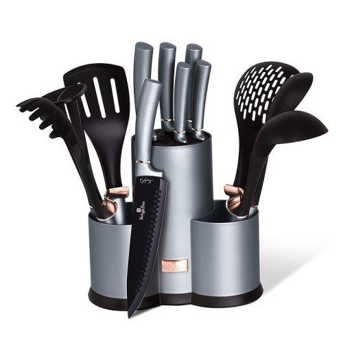 Sada nožov a kuchynského náčinia v stojane 12 ks Moonlight Edition Berlingerhaus