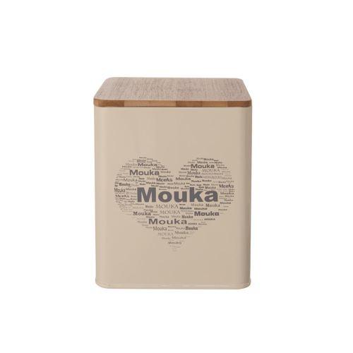 Dóza plech/drevo 11,5x11,5x14 cm MOUKA SRDCE