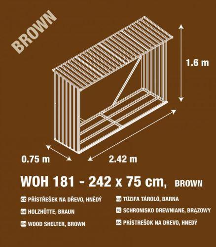 Hnědý přístřešek na dřevo G21 WOH 181 - 242 x 75 cm