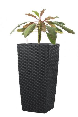 Samozavlažovací kvetináč G21 Linea ratan černý 55cm