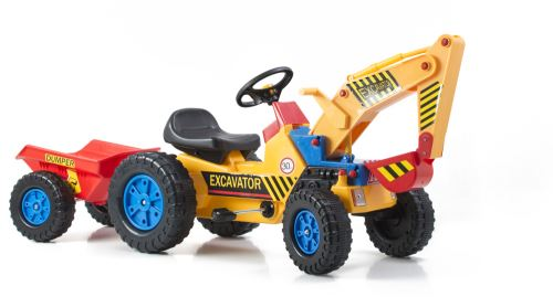 Šliapací traktor G21 Classic s bagrem a vlečkou žluto/modrý